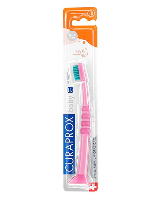 Escova de dentes para bebé rosa-verde