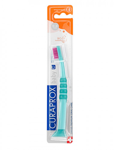 Escova de dentes para bebé verde-rosa